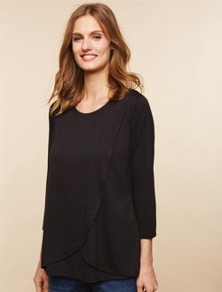 Lift Up Mock Layer Nursing Top, Black