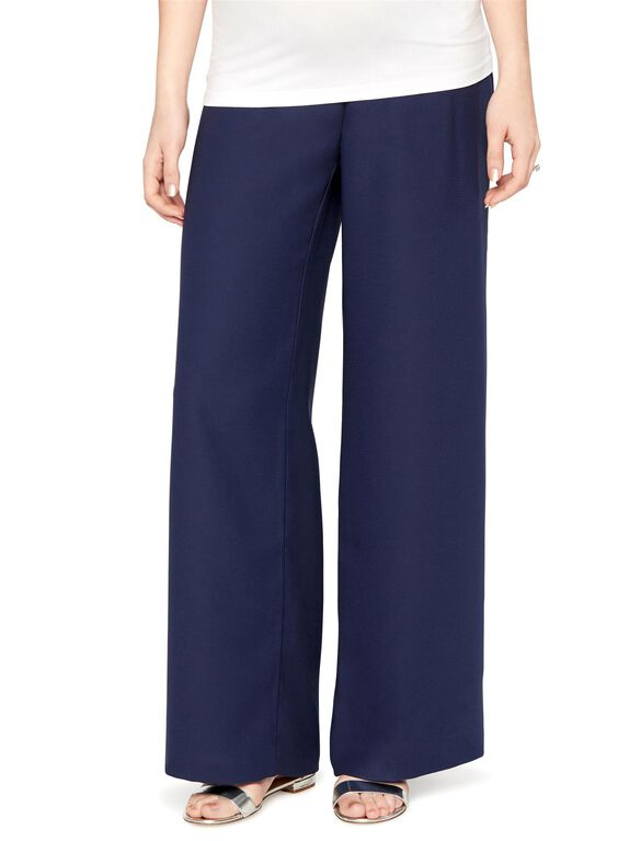 Secret Fit Belly Crepe Wide Leg Maternity Pants, Navy