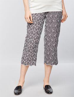 Secret Fit Belly Challis Straight Leg Maternity Pants, Gray/White