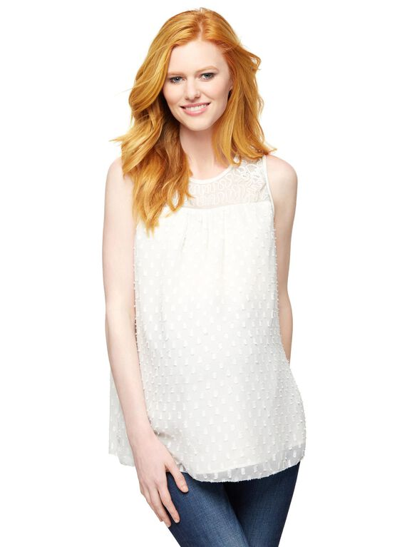 Embellished Maternity Tank Top, White