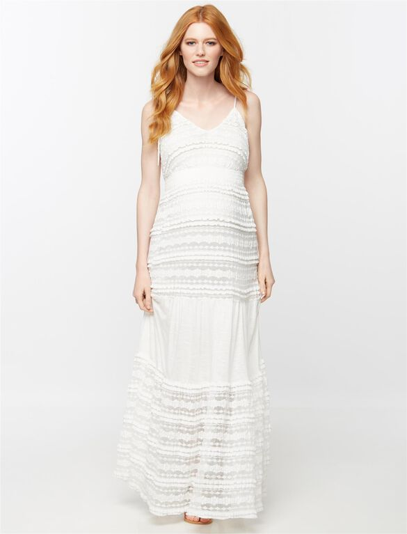 Tiered Lace Maternity Maxi Dress, White