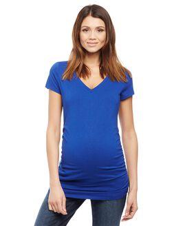 V-neck Side Ruched Maternity Tee- Solid, Cobalt