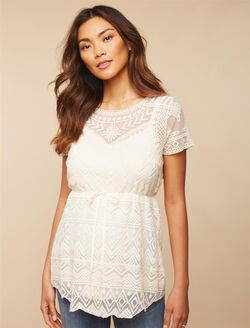 Lace Maternity Shirt, Egret