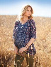 Jessica Simpson Hanky Hem Maternity Blouse, Mixed Print