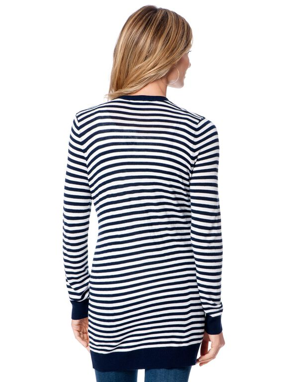Long Sleeve Striped Patch Pocket Maternity Cardigan, Midnight/White