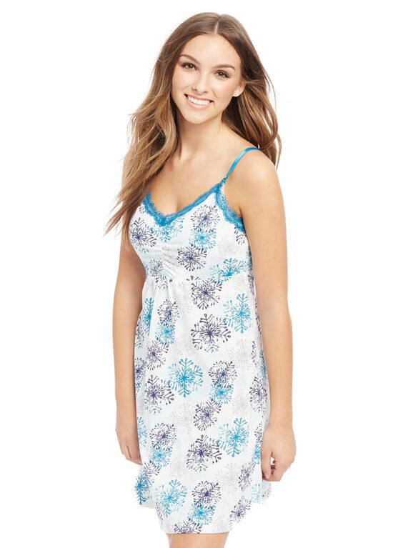 Bump In The Night Nursing Nightgown And Robe- Print, Snowflake Print