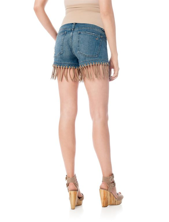DL1961 Secret Fit Belly Fringe Hem Maternity Shorts, Pilar Medium Wash