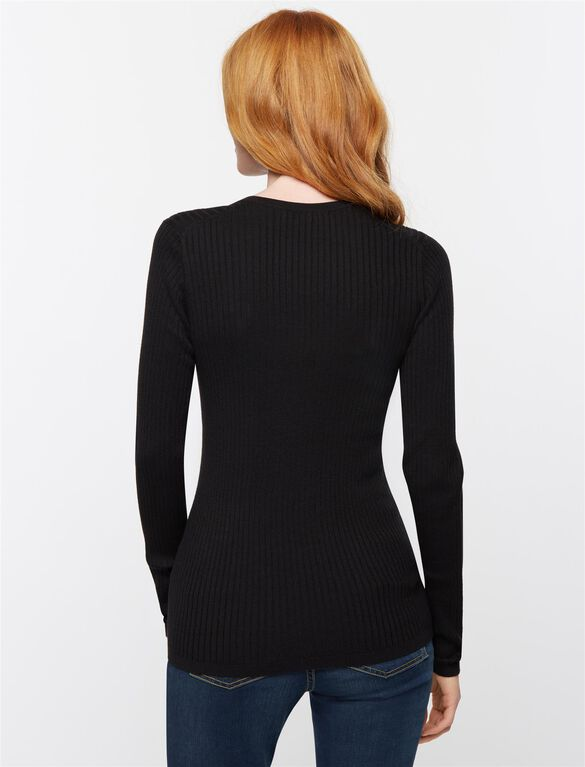 Vince Rib Knit Maternity T Shirt, Black