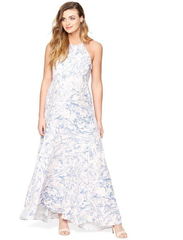 Back Interest Maternity Maxi Dress, Marble Print