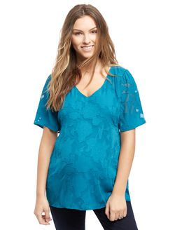 Floral Burnout Maternity Tunic, Teal