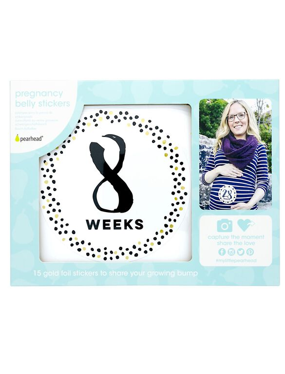 Pearhead Pregnancy Belly Stickers- Gold/Black, Gold/Black