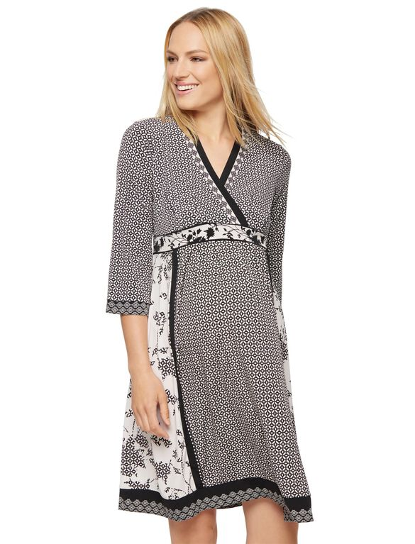 A-line Faux Wrap Maternity Dress, Multi Print