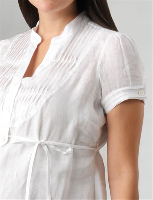 Pleated Maternity Blouse, White