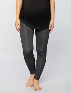 Beyond The Bump Hug The Belly Long Maternity Leggings- Black, Heather Grey