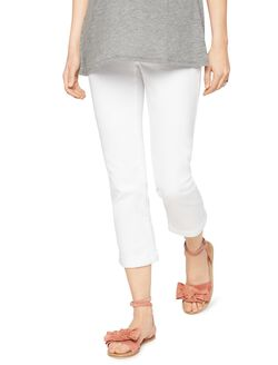 Luxe Essentials Denim Secret Fit Belly Maternity Crop Jeans, White