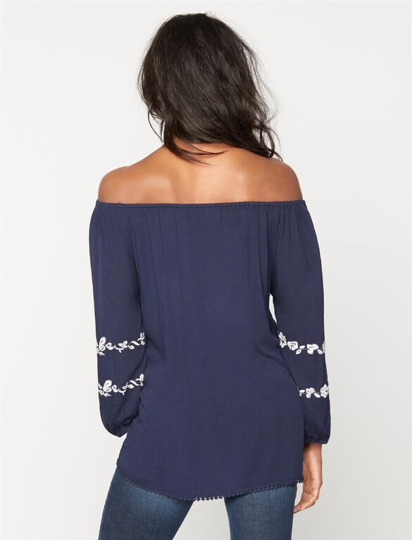 Embroidery Maternity Blouse, Navy