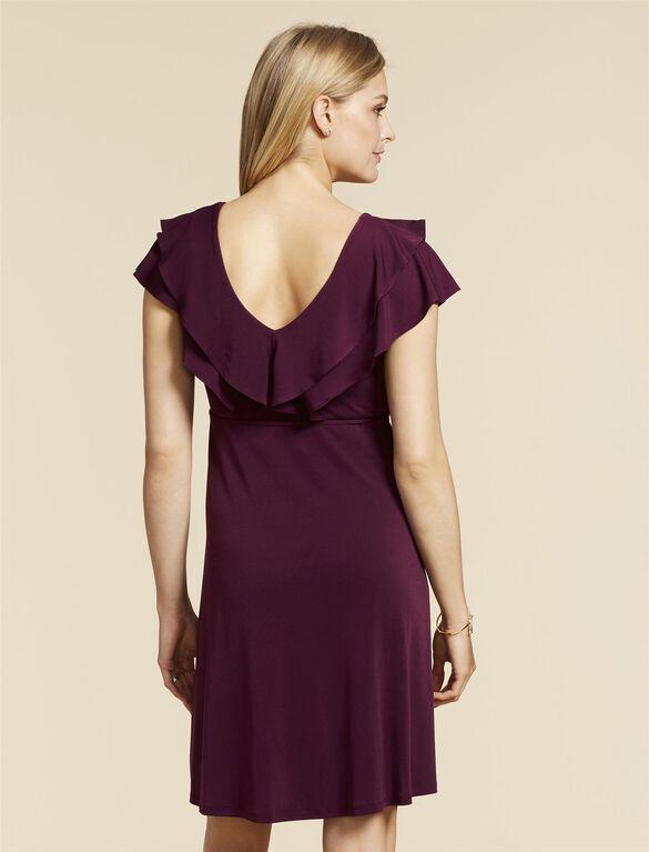Web Only Jessica Simpson Flutter Sleeve Maternity Dress, Purple