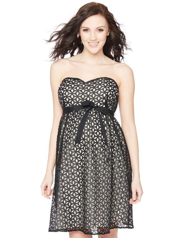 Eyelet Belted Maternity Dress, Black