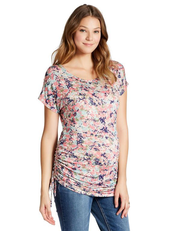 Jessica Simpson Side Tie Maternity Top- Pink/Blue Floral, Pink Blue Floral