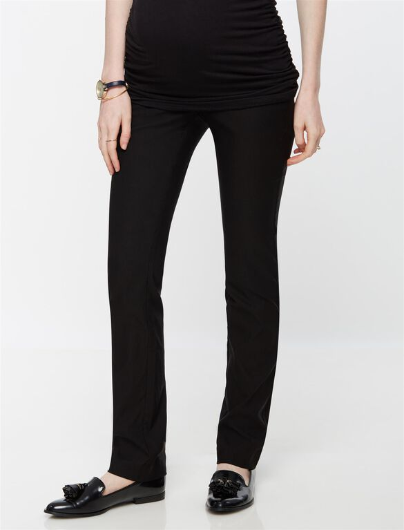 Secret Fit Belly Tech Twill Straight Maternity Pants- Black, Black