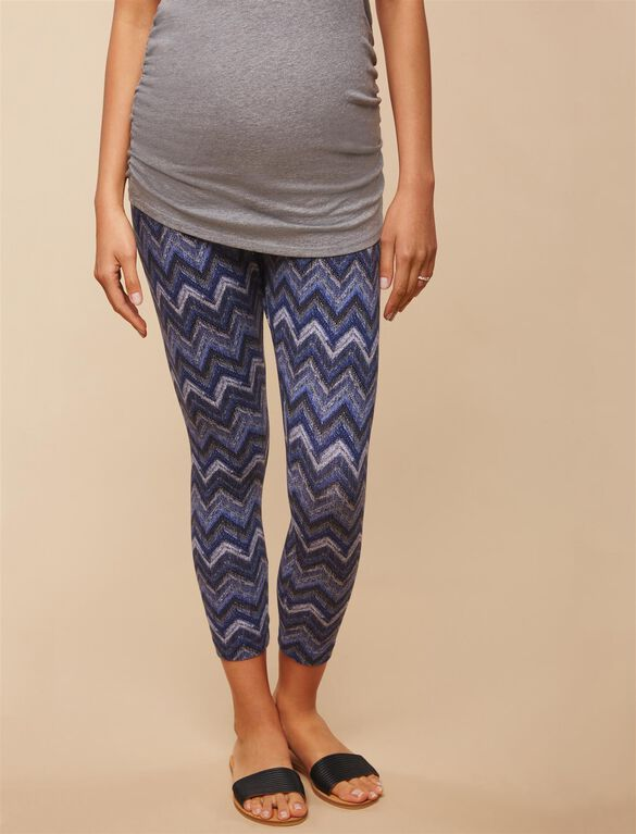 Secret Fit Belly Printed Maternity Crop Leggings- Chevron, Chevron Print