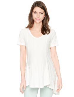 Luxe Essentials Denim Swing Maternity Tunic, Soft White