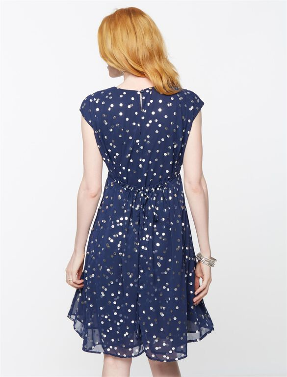 Sleeveless Metallic Dot Maternity Dress, Navy/Gold
