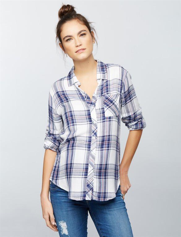Rails Button Front Maternity Shirt, Blue/White Plaid