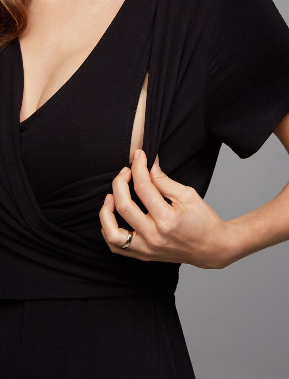 Wrap Front Nursing Maxi Dress- Black, Black