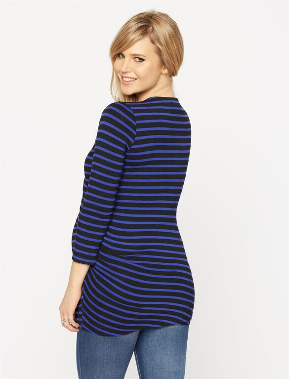 Wrap Maternity Top, Blue Stripe
