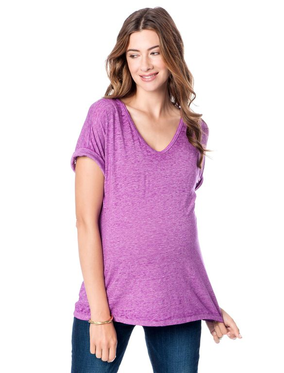 A Pea In The Pod V-neck Maternity T Shirt, Orchid