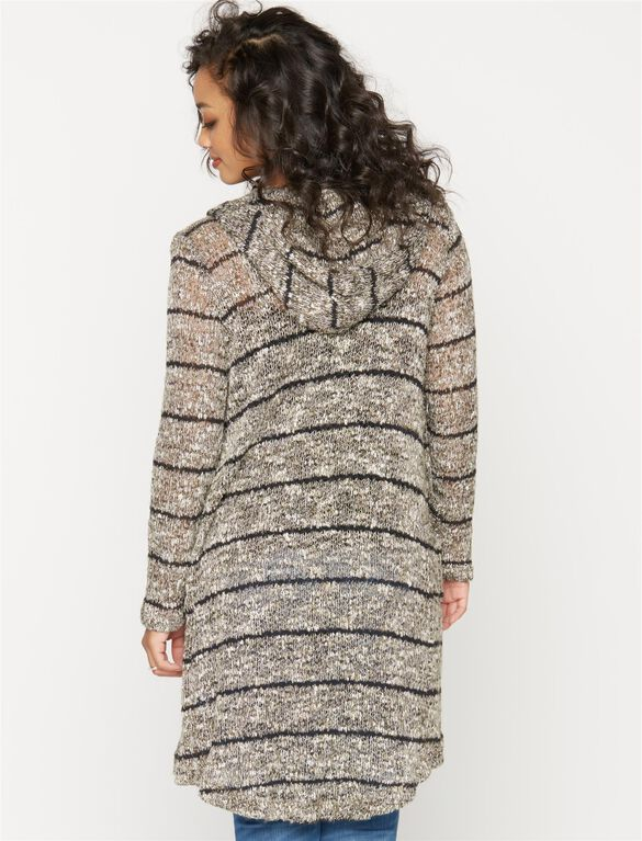 Splendid Hooded Maternity Cardigan, Olivine Stripe