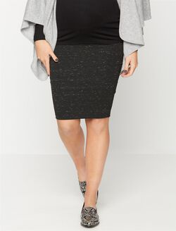 David Lerner Secret Fit Belly Ruched Maternity Skirt, Black Speckle