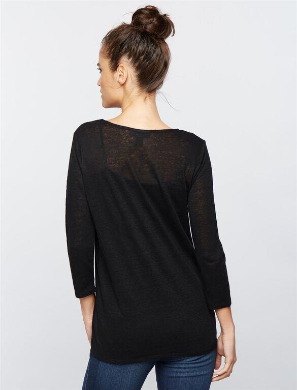 Linen Woven Maternity Top, Core Black