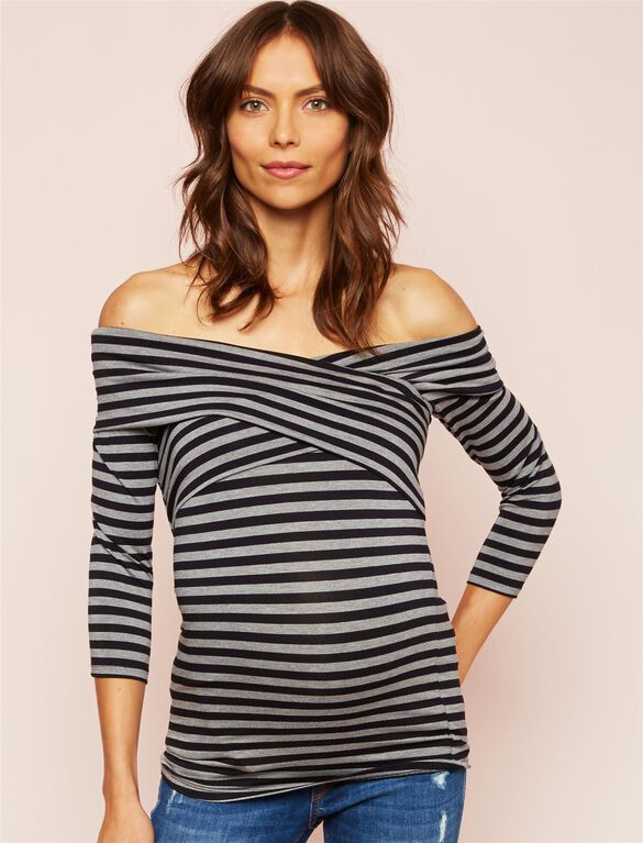 Cross Front Maternity Top, Black/Charcoal Stripe