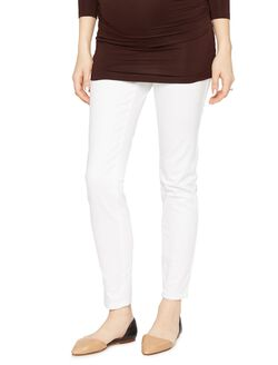 Luxe Essentials Denim Secret Fit Belly White Maternity Jeans, White
