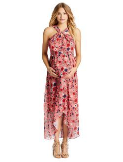 Jessica Simpson Lace Trim Maternity Dress, Pink Floral
