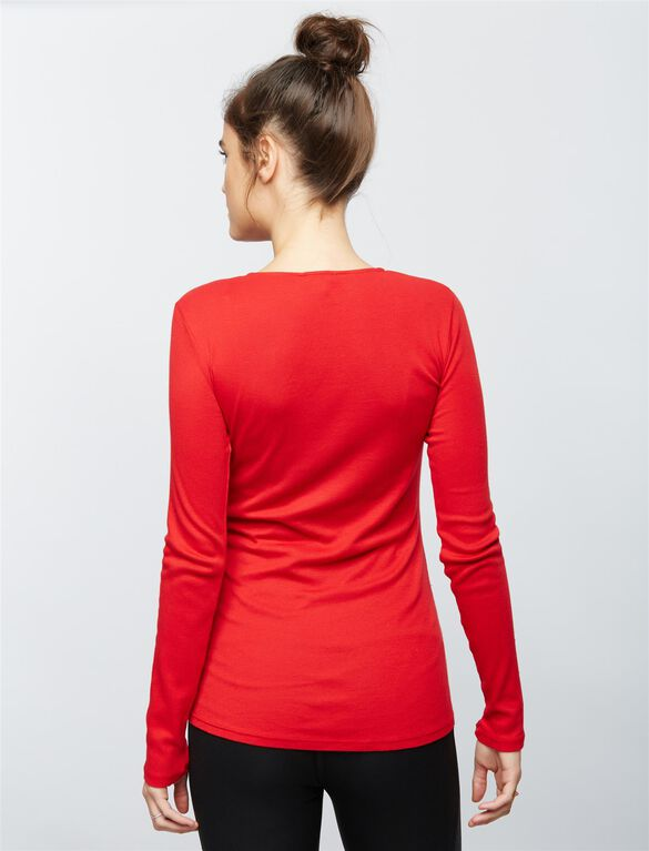 Splendid Tie Front Maternity Top, Red