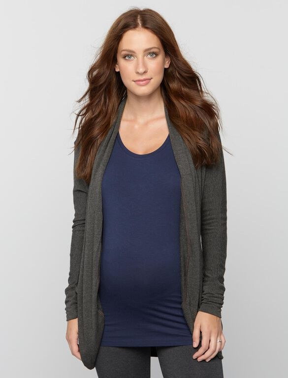 Cocoon Maternity Cardigan- Solid, Charcoal