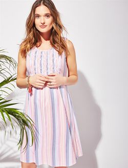 Smocked Striped Maternity Dress, Multi Stripe