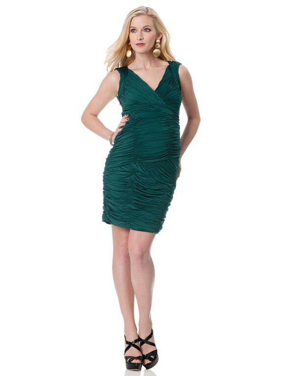 Ruched Maternity Dress, Pine