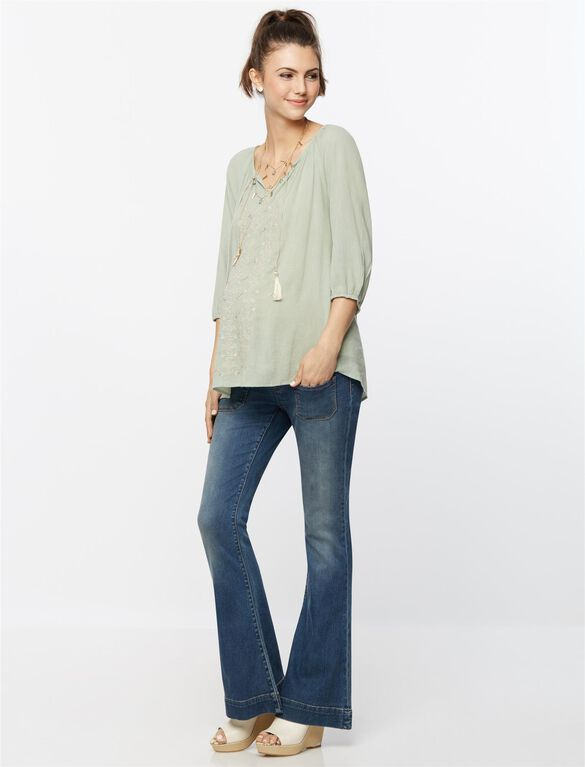 Luxe Essentials Denim Secret Fit Belly Flare Maternity Jeans, Medium Wash