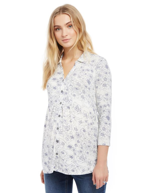 Button Front High-low Hem Maternity Tunic, Floral