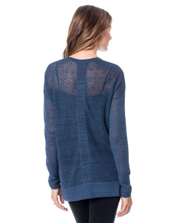 Linen Blend High Low Maternity Shirt- Blue, French Blue