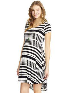 Jessica Simpson High-low Hem Maternity Dress, Black White Stripe