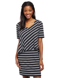 Asymmetrical Lift Up Nursing Dress, Black/White Stripe