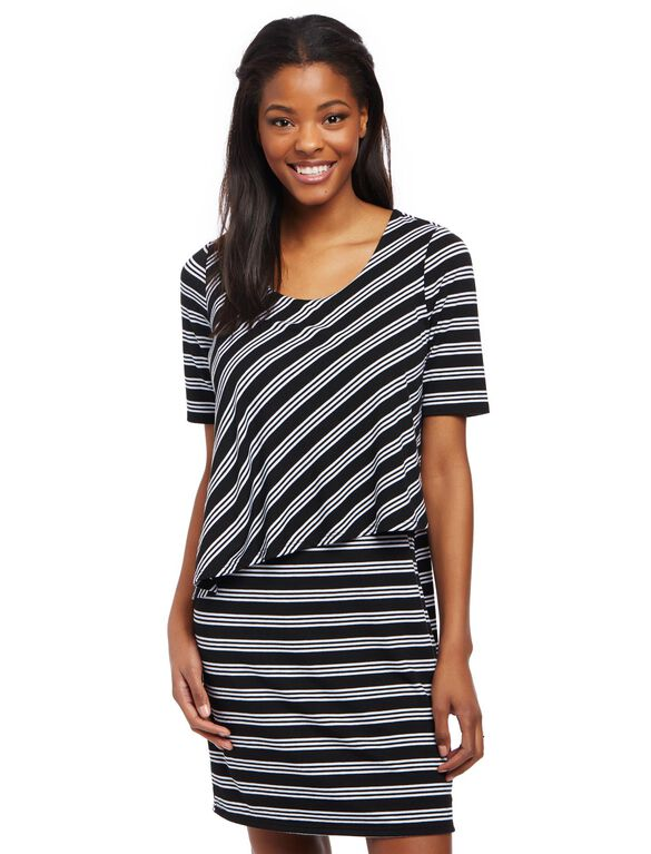 Asymmetrical Lift Up Nursing Dress- Stripe, Black/White Stripe