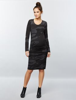 Monrow Ruched Maternity Dress, Camo