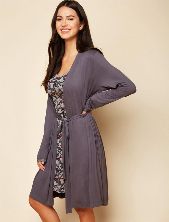 Bump In The Night Tie Front Nursing Robe, Grey