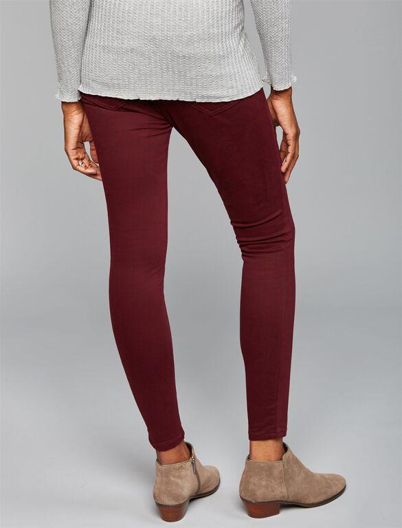 Luxe Essentials Skinny Sateen Maternity Pants, Burgundy